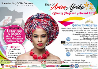 Face Of Arise Afrika Pageant Award Unveiled 1