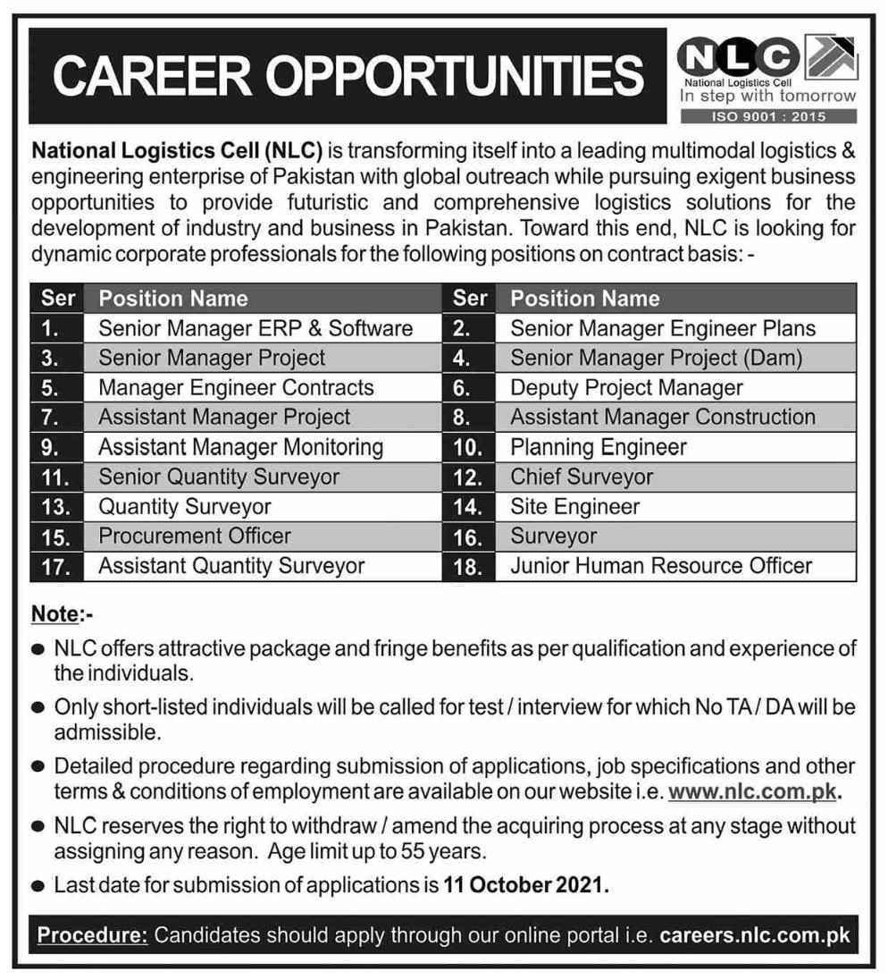 Latest National Logistics Cell NLC Management Posts 2021