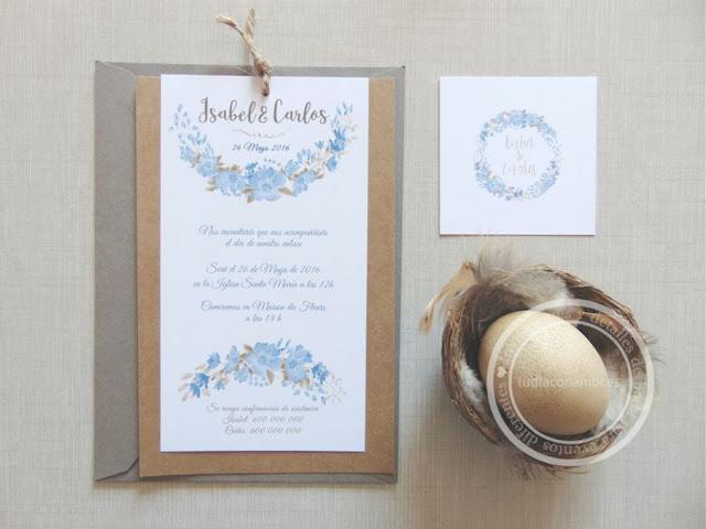 Invitaciones de boda en acuarela con diseños floreados