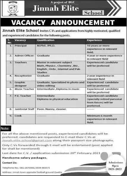 Jinnah Elite School Quetta Jobs In Pakistan 2021 February