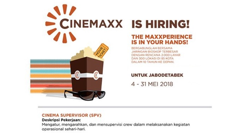 Lowongan Supervisor Di Bioskop Cinemaxx Theater 4 - 31 Mei 2018 Untuk JABODETABEK