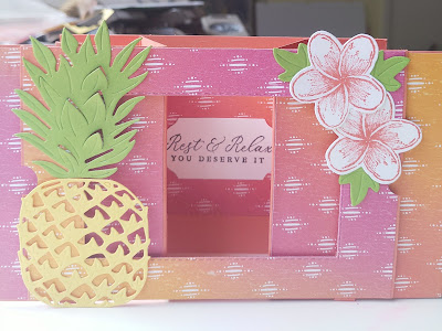 Stampin' Up Calypso Coral Theatre Card Timeless Tropical PIneapple