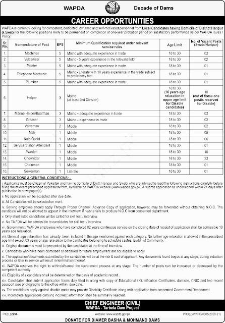 Water & Power Development Authority WAPDA KPK Jobs in Pakistan 17/02/2021 Latest