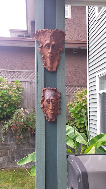 Bob Kingsmill inspired pottery green man masks by Lily L.