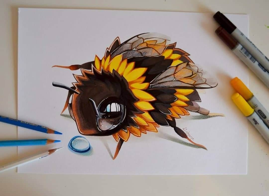 14-Bumblebee-Lisa-Saukel-lighane-Cute-Colored-Fantasy-Animal-Drawings-www-designstack-co