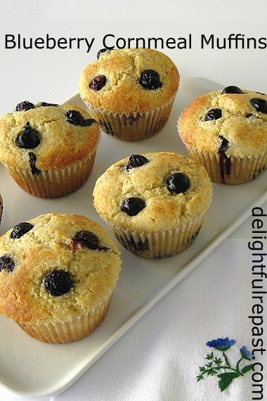 Blueberry Cornmeal Muffins / www.delightfulrepast.com