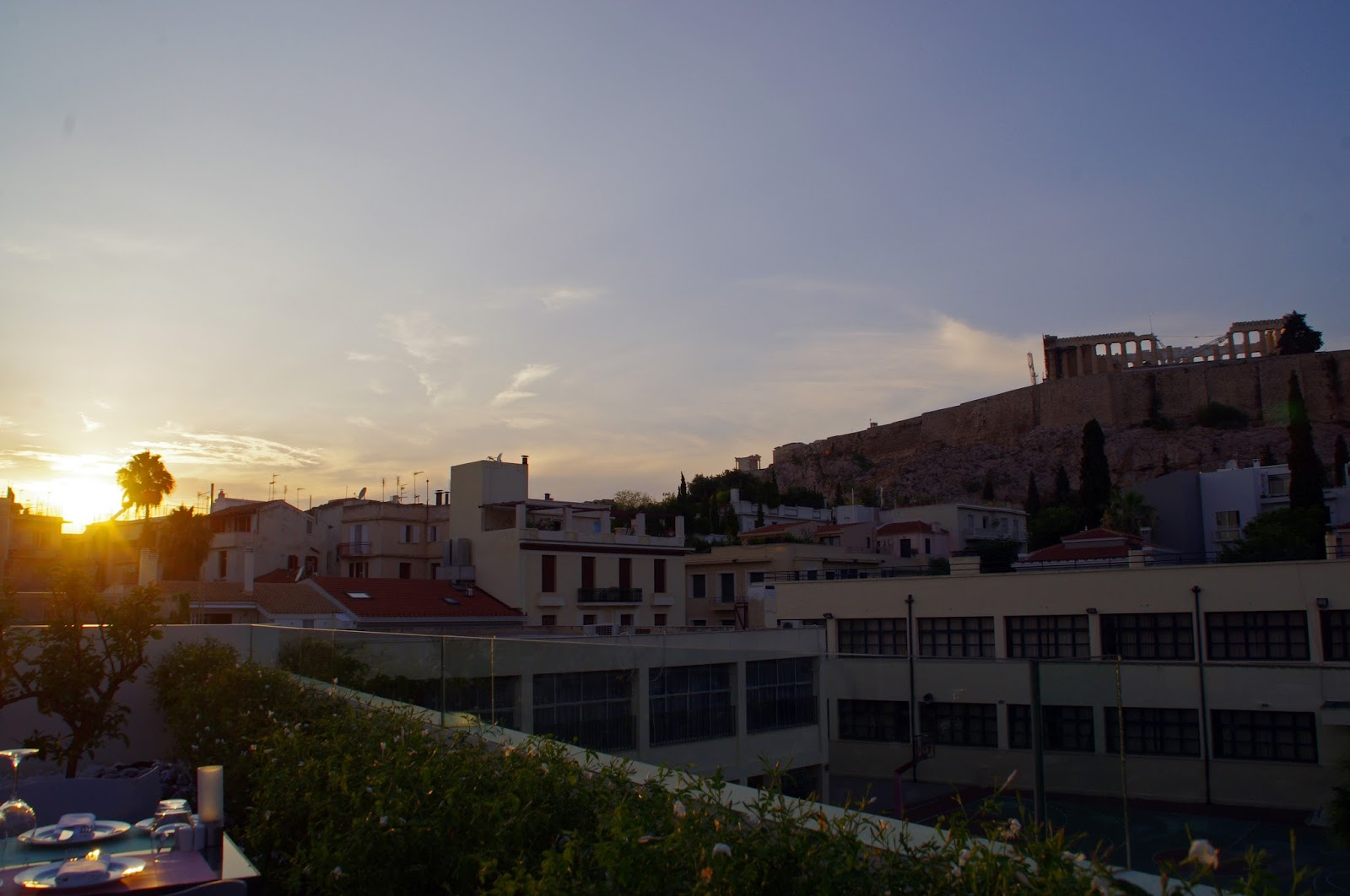 POINT a Restaurant Sunset and Parthenon Views