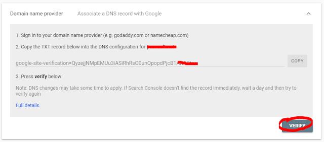 Verifikasi Webmaster Tool dengan DNS Record
