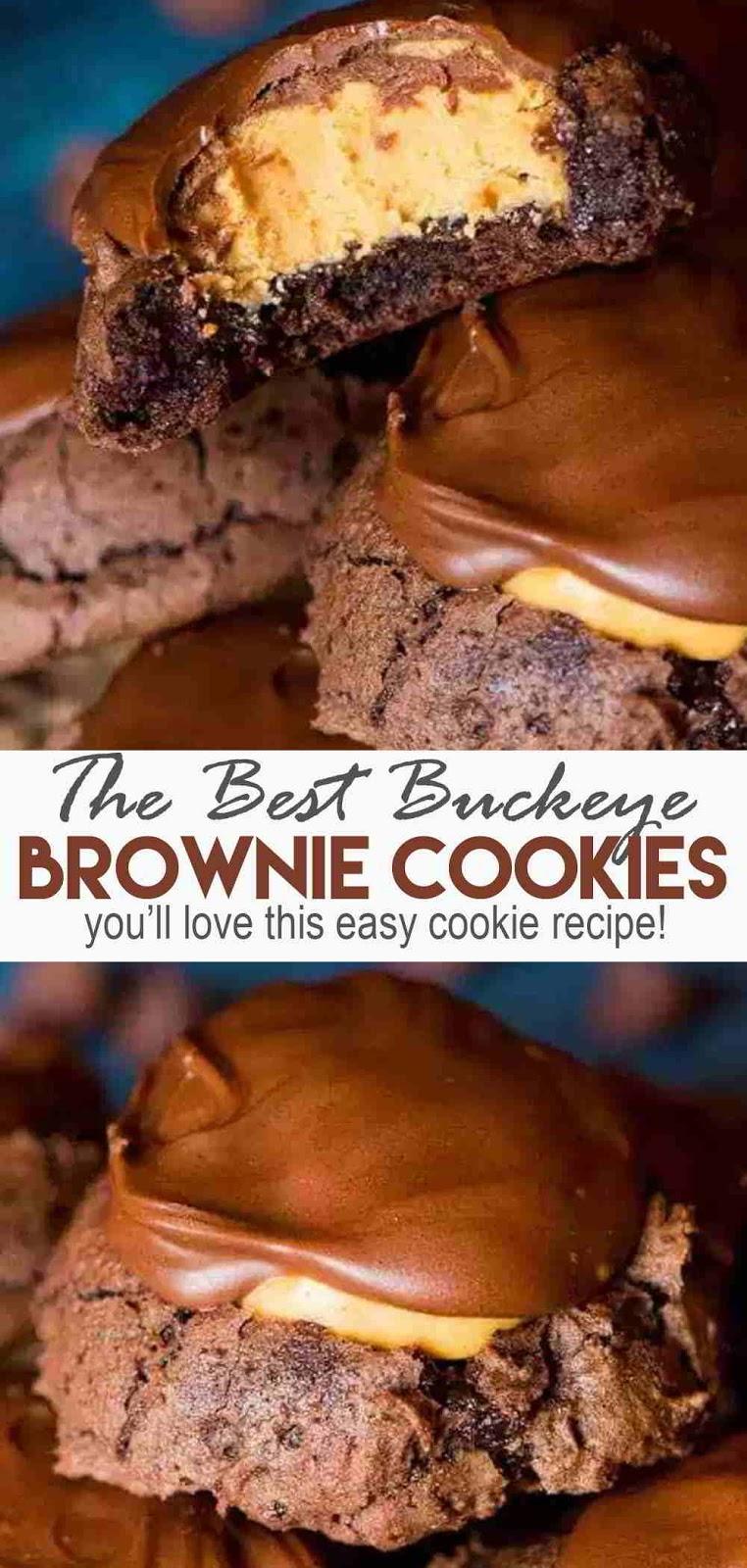 Buckeye Brownie Cookies #dessets #cookies #brownies