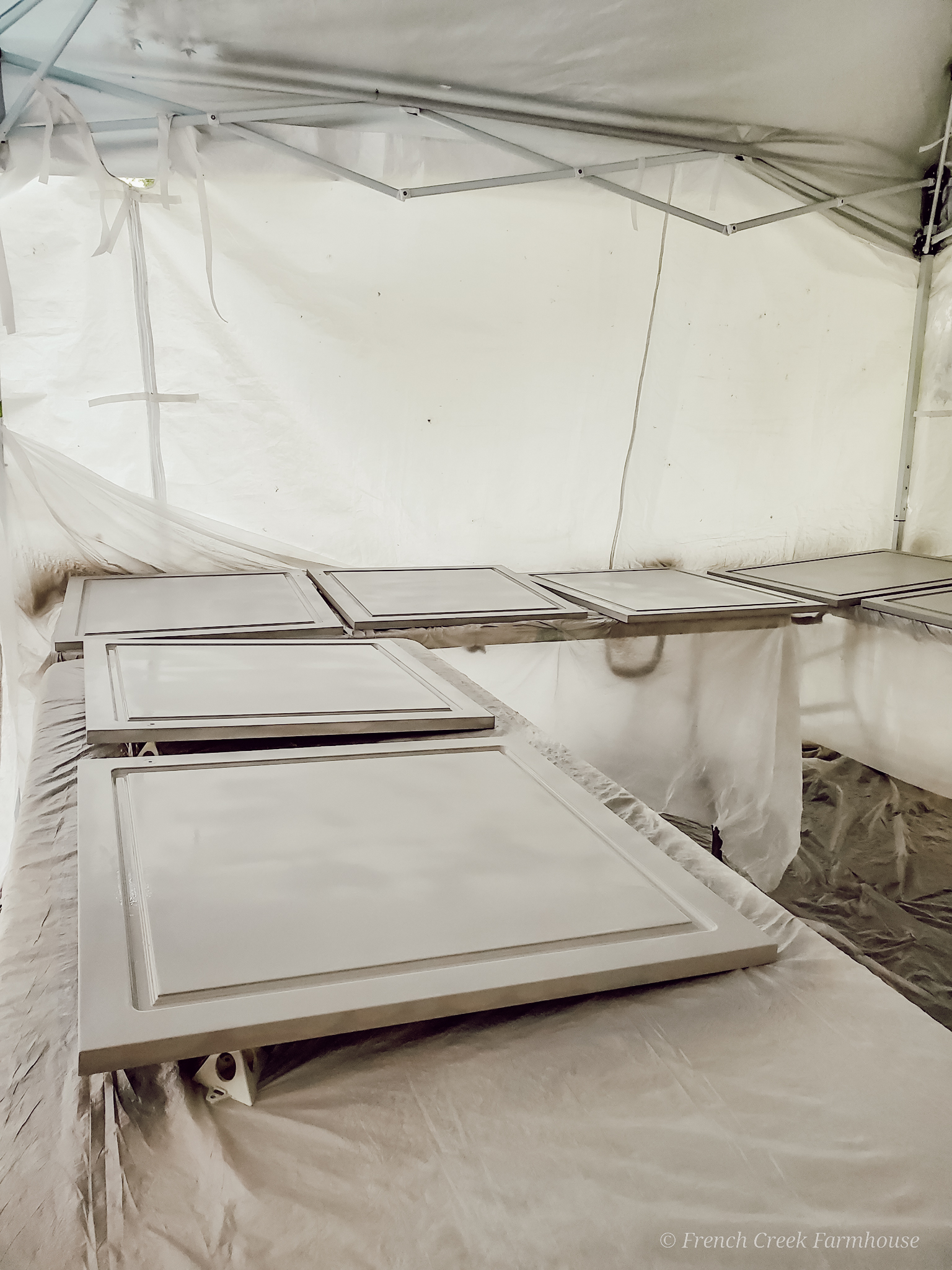 A pop-up canopy tent makes for an easy paint booth