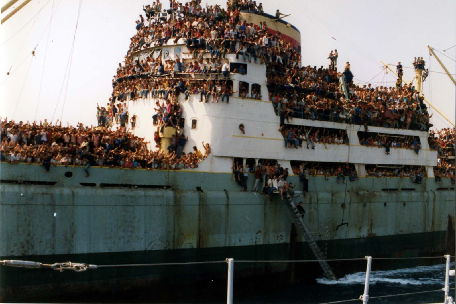 Virtually every inch of the ship was filled (some hanging from ladders for most of the voyage).