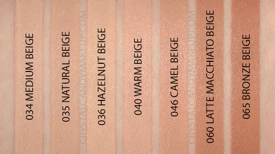 Catrice HD Liquid Coverage Foundation Swatches 034 035 036 040 046 060 065 Beige MAC NC30 NW35 NW40 NW42