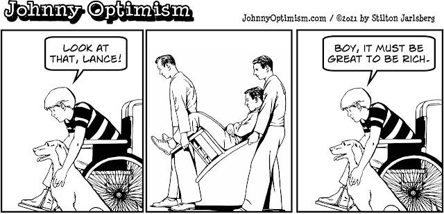 johnny optimism, medical, humor, sick, jokes, boy, wheelchair, doctors, hospital, stilton jarlsberg, rich, men carrying man, litter bearers, chair