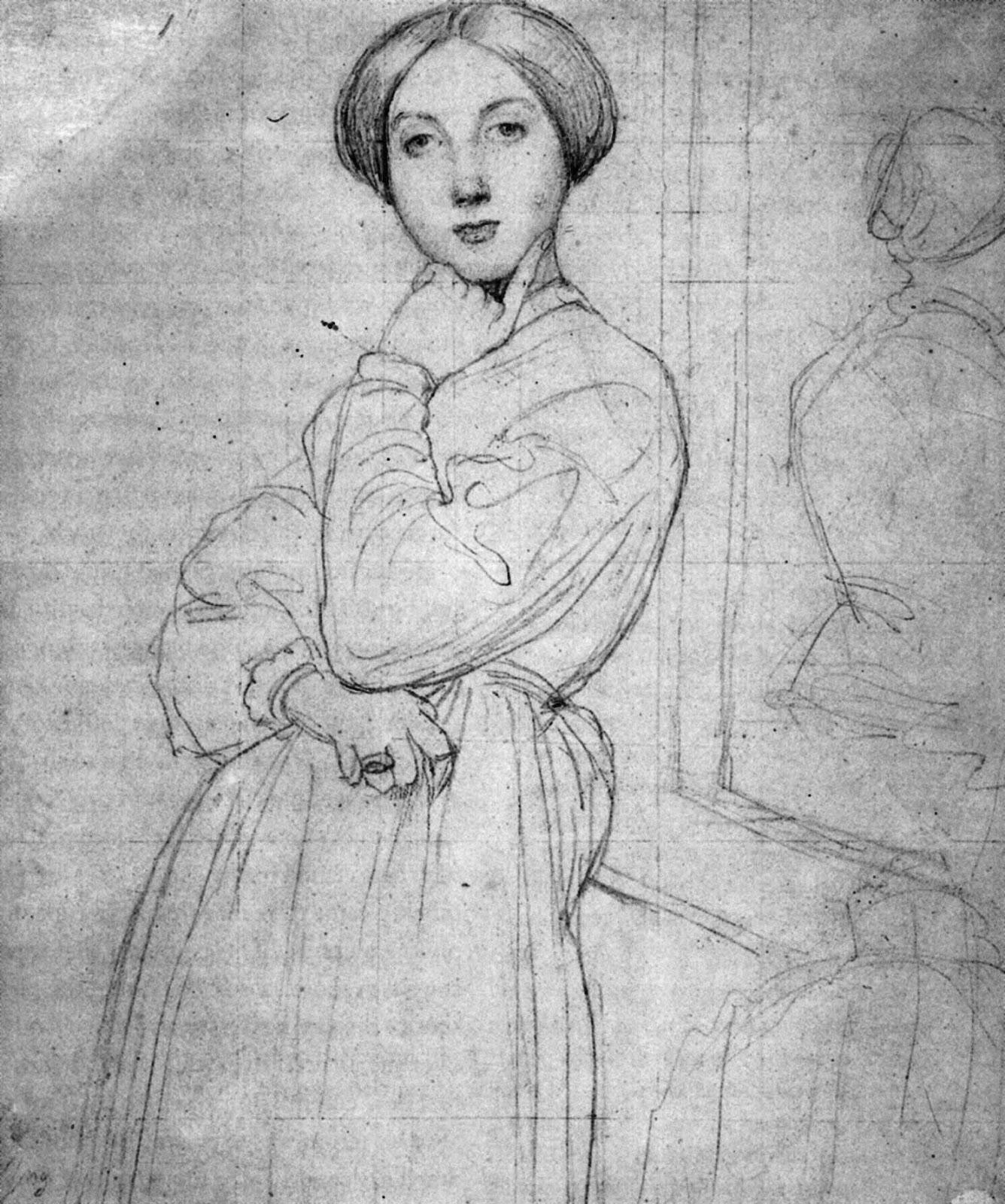 ドミニク・アングルのドーソンヴィル伯爵夫人の肖像の全体のデッサン