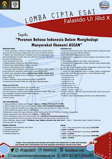 Falasido Jilid X Universitas Indonesia Lomba Menulis Esai Terbaru 2016 (DL Oktober 2016)