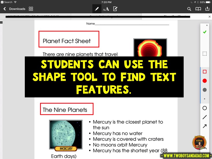 Using PDF Expert in guided reading to find text features