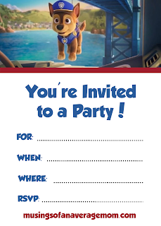 Paw Patrol: The Movie free printable party invitations