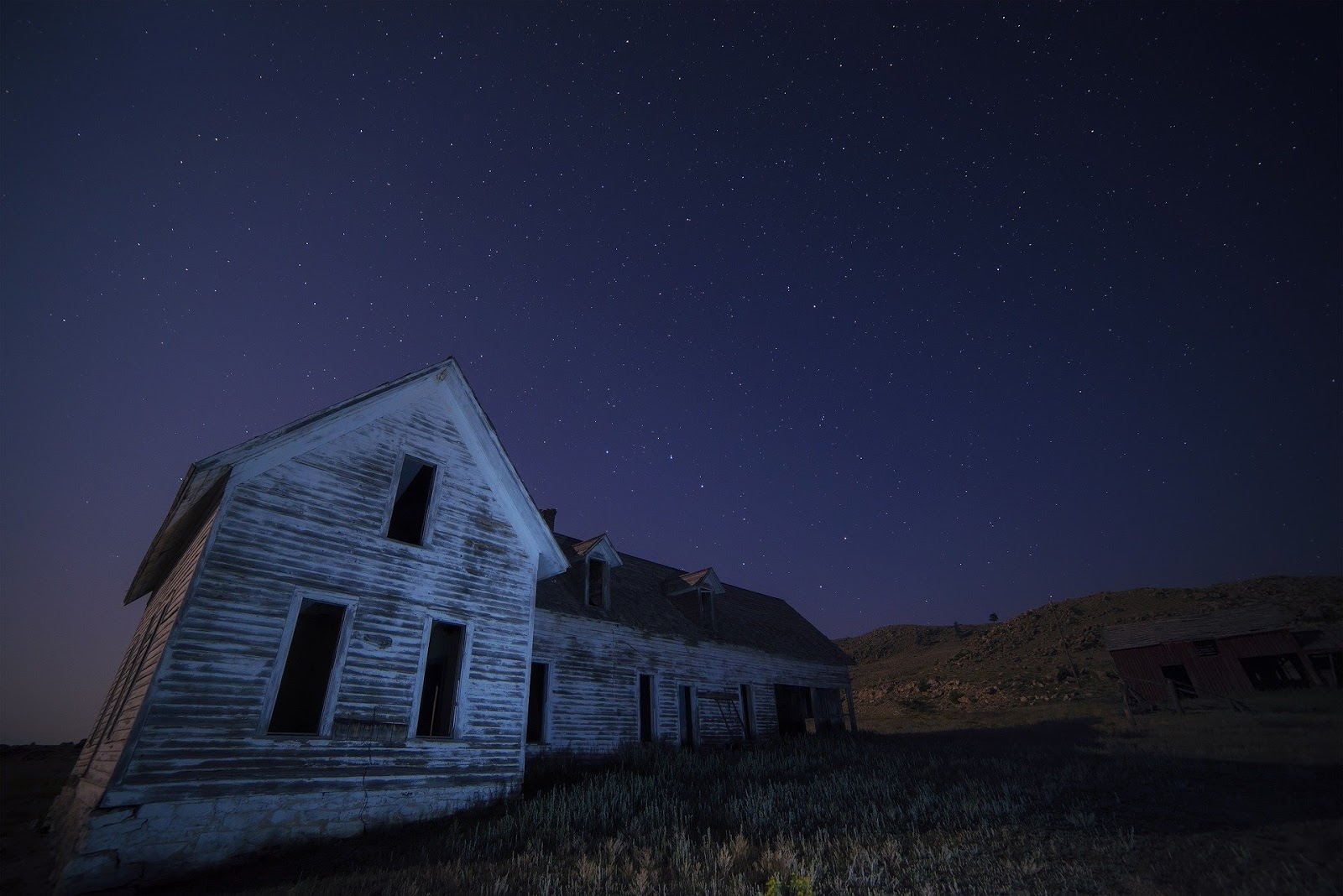 abandoned farm house with dark night in background for blog post about horror war movies