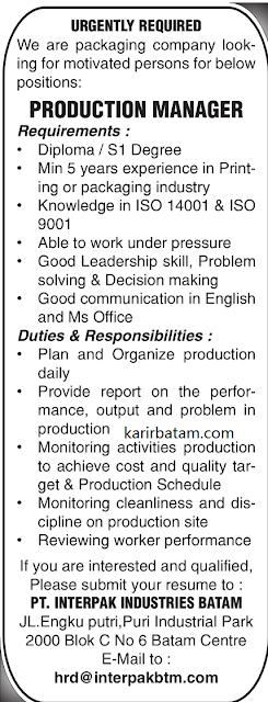 Lowongan Kerja PT. Interpak Industries Batam