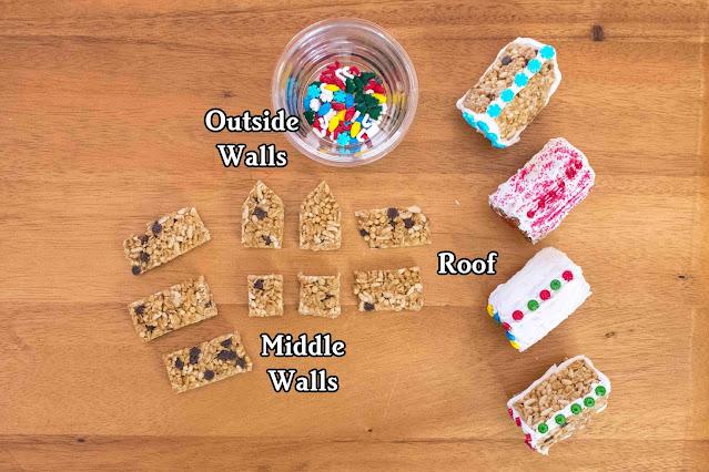 How to Make Mini Holiday Granola Bar Cabins