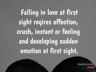 Falling in love at first sight reqires affection,  crush, instant or feeling  and developing sudden emotion at first sight.