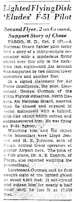 Lighted Flying Disk 'Eludes' F-51 Pilot - By AP (10-2-1948)