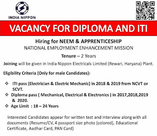 India Nippon Electricals Limited  (Rewari, Haryana) Plant Job Vacancy For Diploma And ITI Candidates