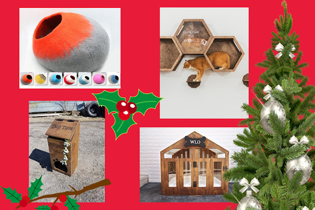 The Artisan Holiday Gift Guide for Pet Lovers. Pictured, felt cat bed, cat tree, wooden dog bed,  dog's toy box.