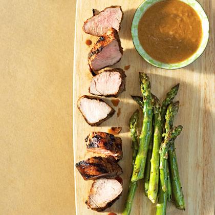 Grilled Pork Tenderloin & Asparagus with Peanut Dipping Sauce Recipe