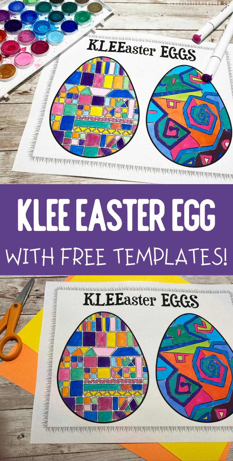 Free Easter egg template printable. Use as Easter egg colouring pages, Easter hunt printables or to make Paul Klee art for kids.