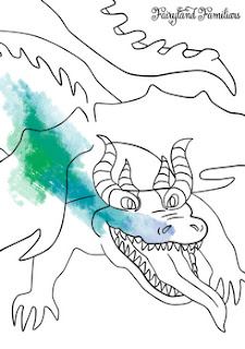 A coloring page of a dragon