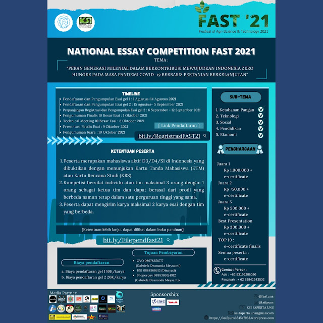 National Essay Competition Festival of Agri-Science and Technology 2021 (FAST '21)