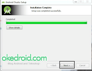 Installation Complete Android Studio