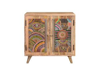 mueble recibidor pintado detalles indios