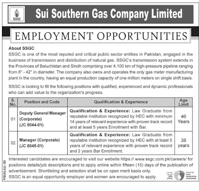 Sui Southern Gas Company Jobs 2020 For Deputy General Manager & Manager Latest