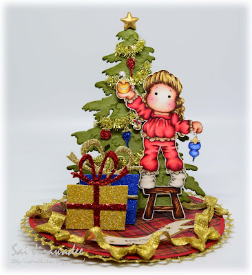 Tilda Hanging Ornaments Christmas Tree Easel Card
