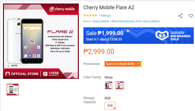 Deal: Cherry Mobile Flare A2 with 4G LTE is down to PHP 1,999 on September 9