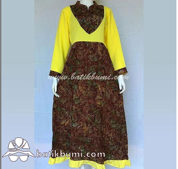 Batik Gamis Motif Lamtoro Coklat