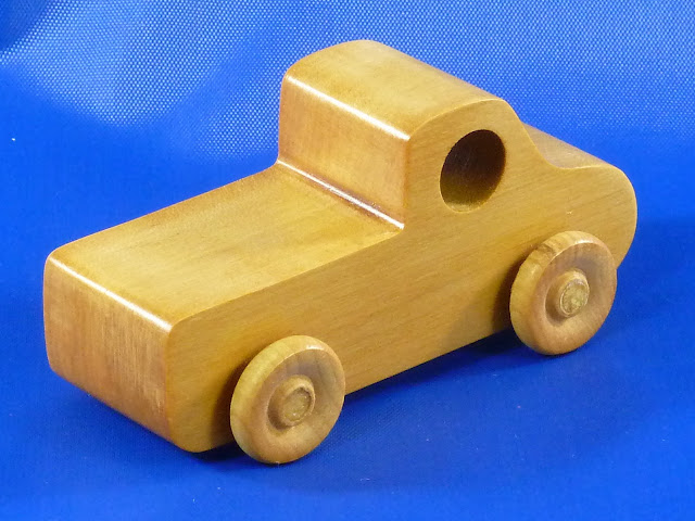 Left Rear - Handmade Wooden Toy Truck - Play Pal - Pickup Truck
