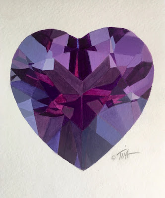 Amethyst heart acrylic painting, various shades of purple paint.