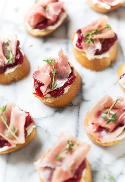 Cranberry & Prosciutto Crostini