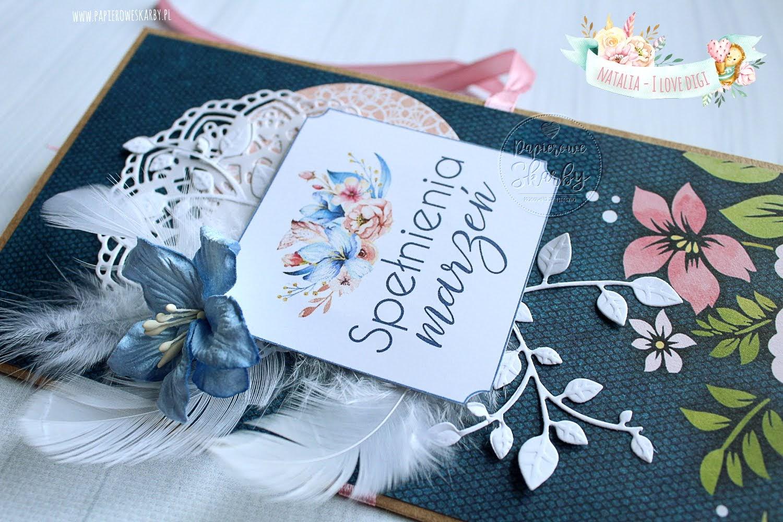 kartka okolicznościowa urodzinowa imieninowa na dzień matki elegancka bon upominkowy prezent z klasą digistempel i love digi królewski niebieski pióra lilia urodziny imieniny dzień mamy dla mamy dla eleganckiej kobiety dla wyjątkowej osoby
