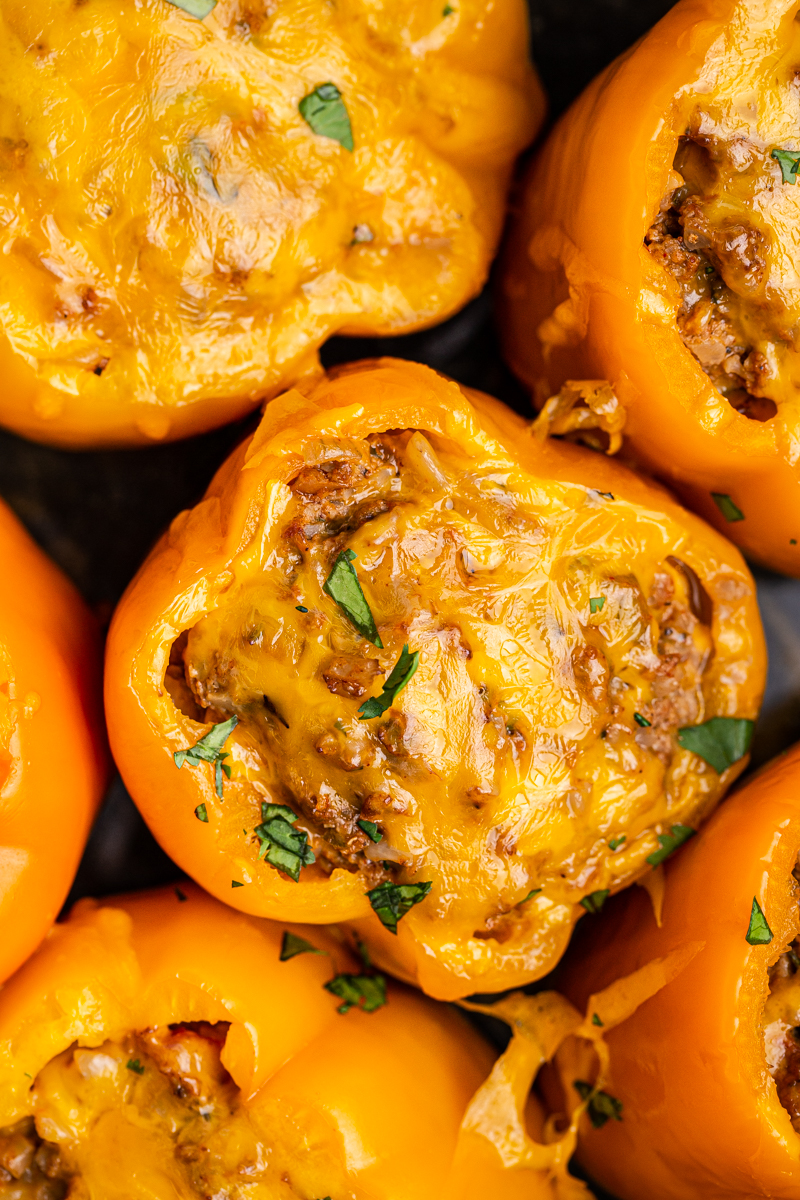 Closeup overhead photo of Keto Slow Cooker Mexican Stuffed Peppers in the slow cooker.