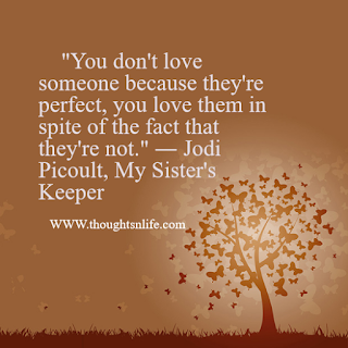 "Love Quotes     ""You don't love someone because they're perfect, you love them in spite of the fact that they're not."" ― Jodi Picoult, My Sister's Keeper"