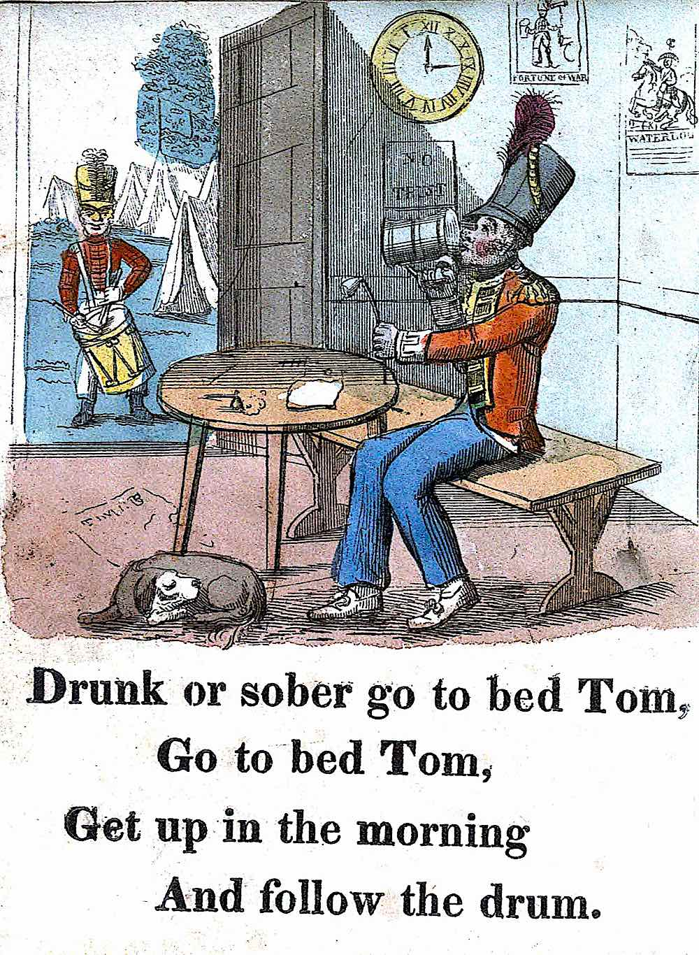 a 1825 child schoolbook about war and alcoholism