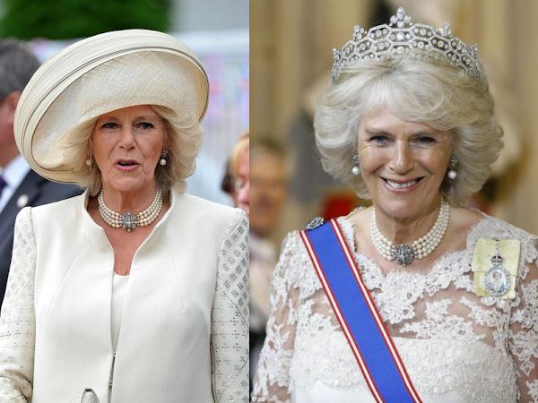 Księżna Camilla i jej perłowe naszyjniki.