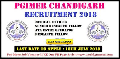 PGIMER Chandigarh Senior Research Fellow Nurse Recruitment 2018