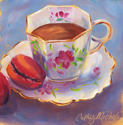 Morning Cuppa (oil on gold acrylic background)