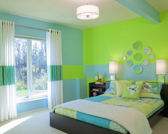 Kombinasi Warna Biru dan Hijau untuk Kamar Tidur