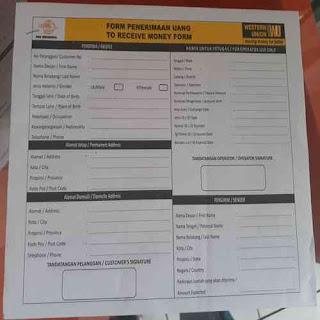 Isi form penerimaan uang adsense dari WU